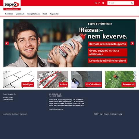 Pentacom referencia - Sopro, webfejlesztés